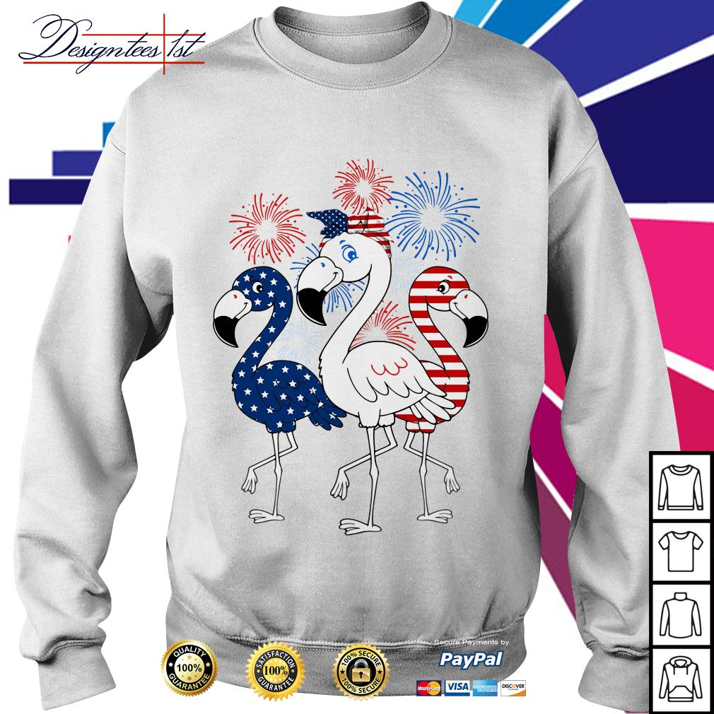 4th of July independence day Flamingos blue white and red Sweater