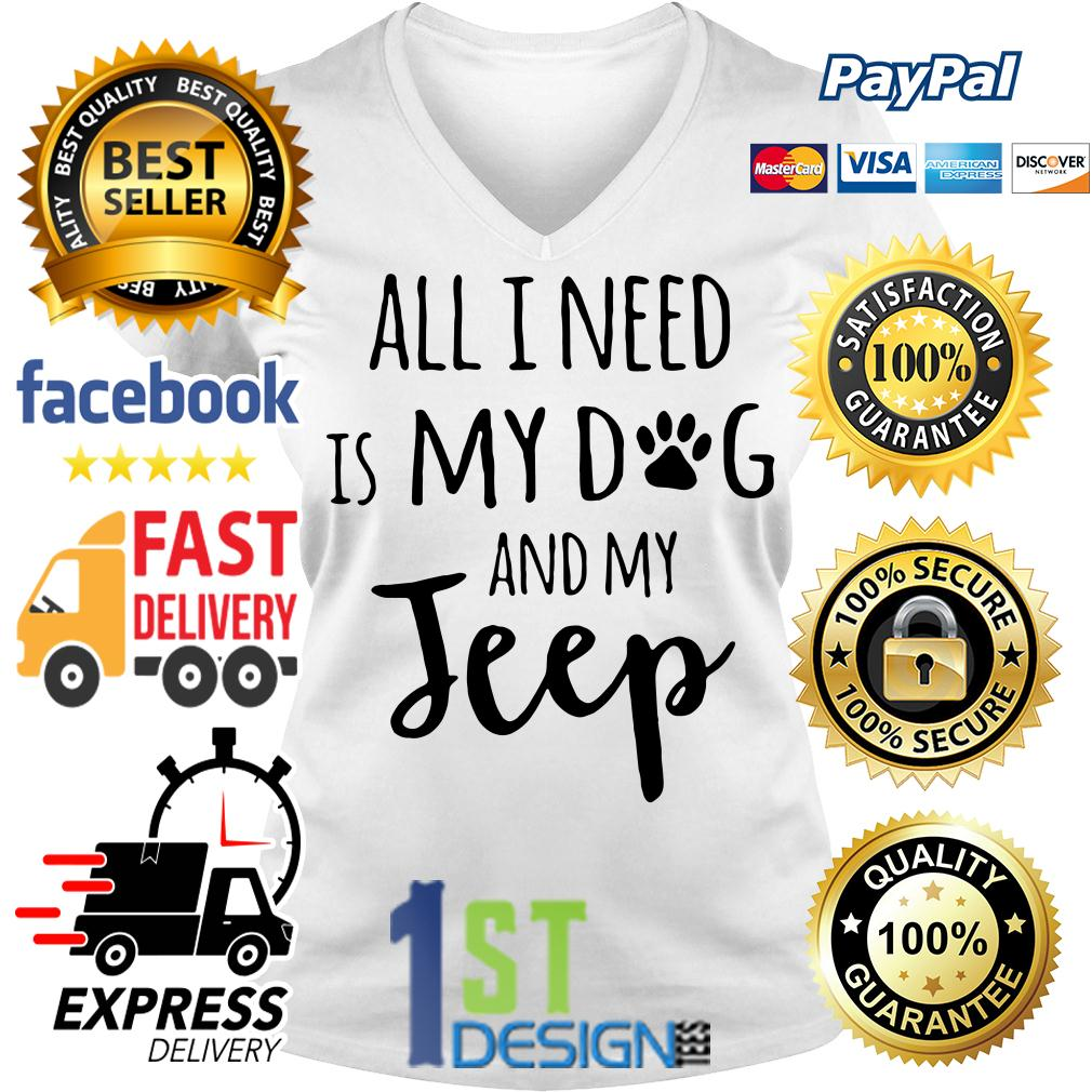 All I need is my dog and my jeep V-neck T-shirt