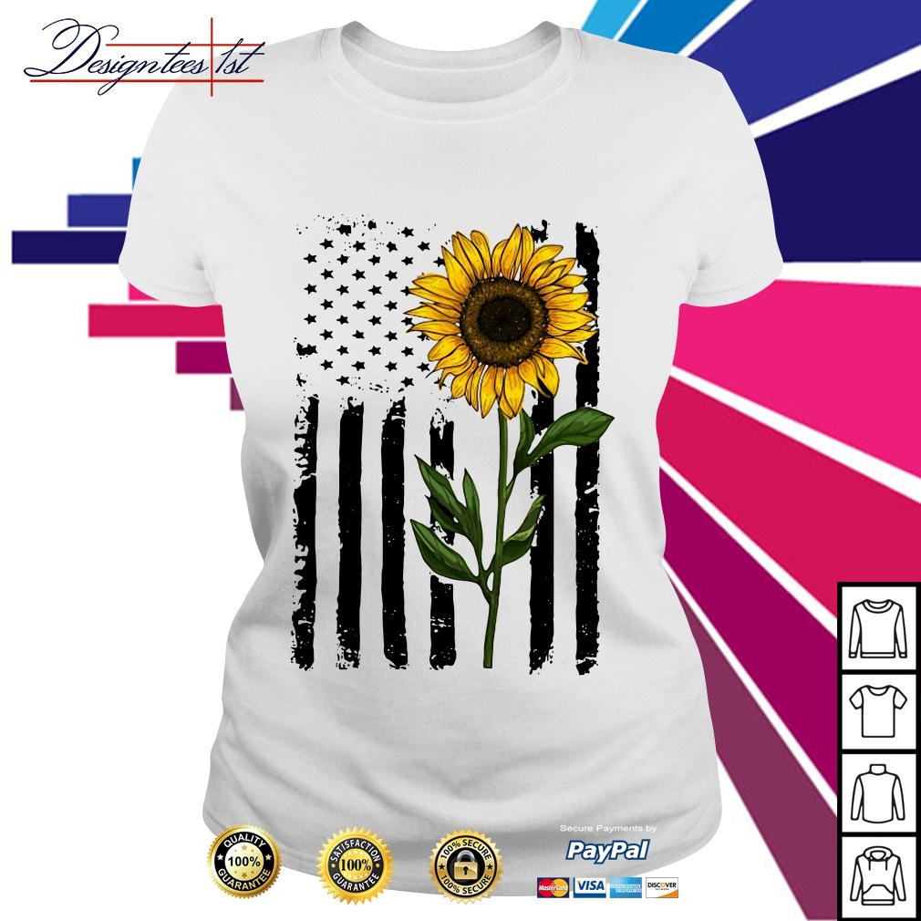 American flag sunflower 4th of July Independence day Ladies Tee