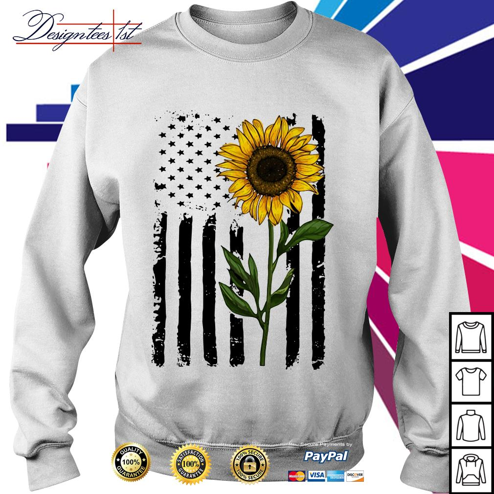 American flag sunflower 4th of July Independence day Sweater