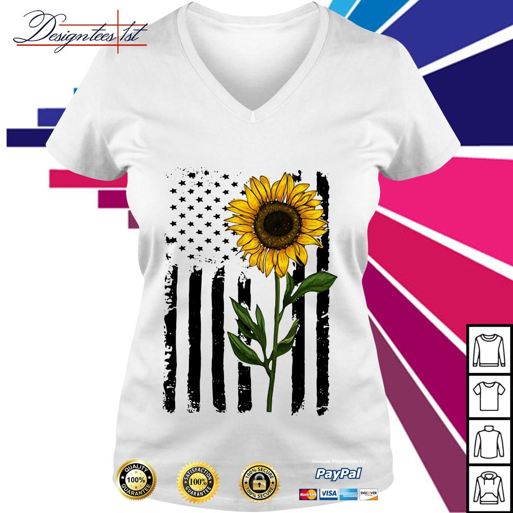 American flag sunflower 4th of July Independence day V-neck T-shirt