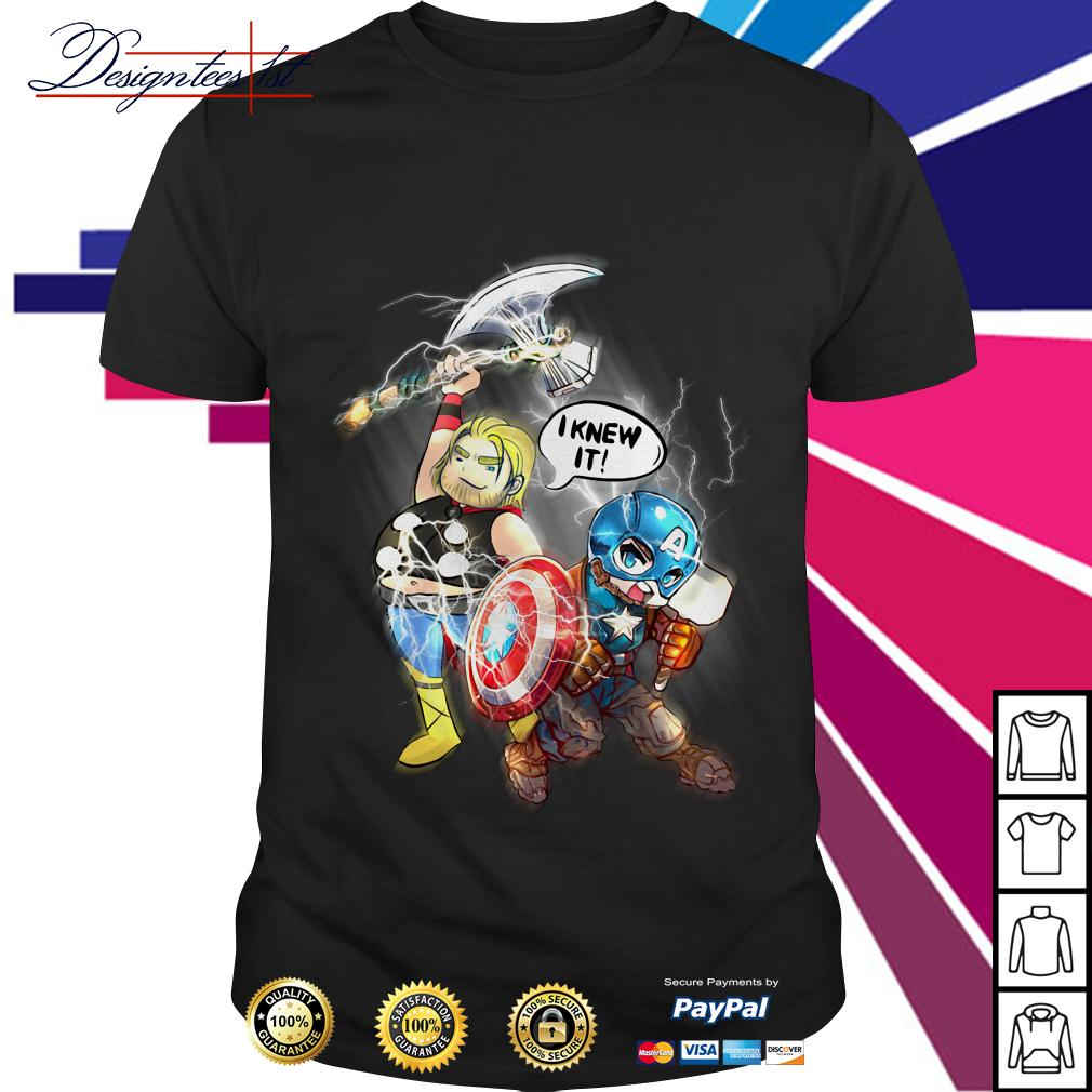 Avengers Endgame Fat Thor and Captain American I knew it shirt
