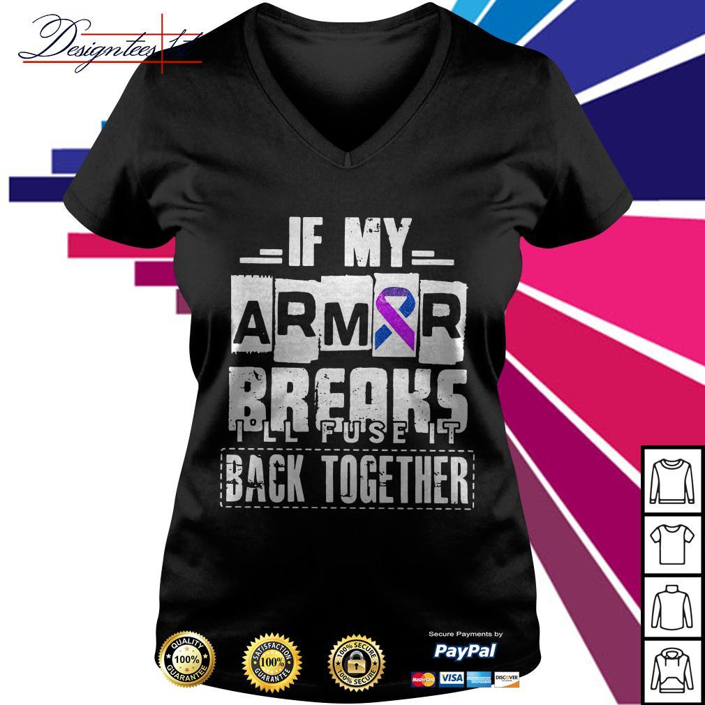 Cancer awareness if my armor breaks I'll fuse it back together V-neck T-shirt