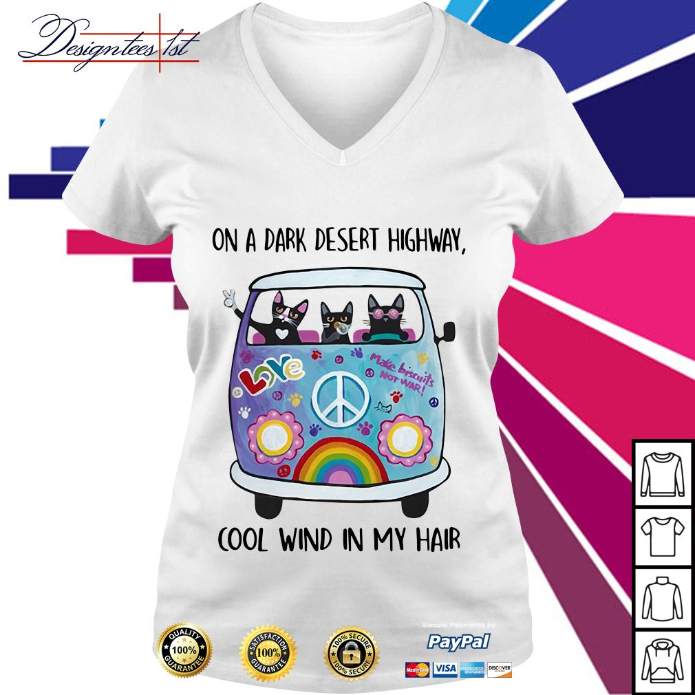 Cats and hippie bus on a dark desert highway cool wind in my hair V-neck T-shirt