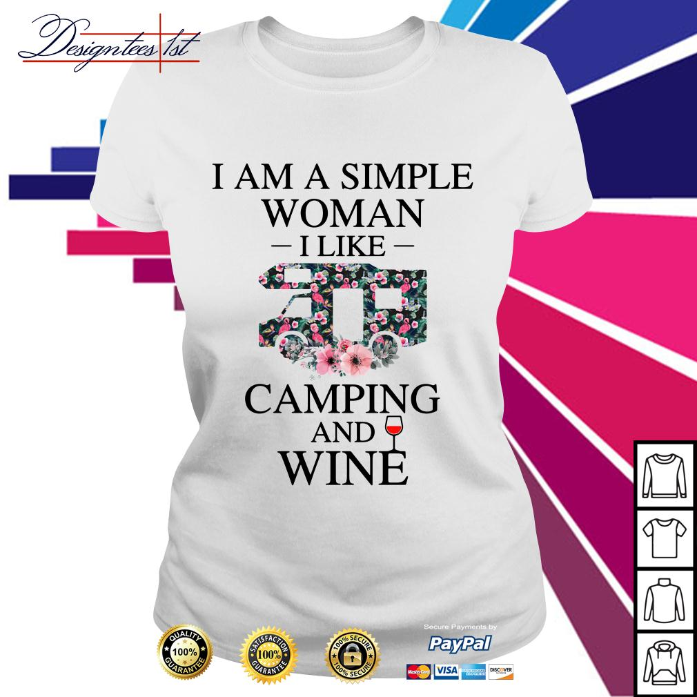 Floral I am a simple woman I like camping and wine Ladies Tee