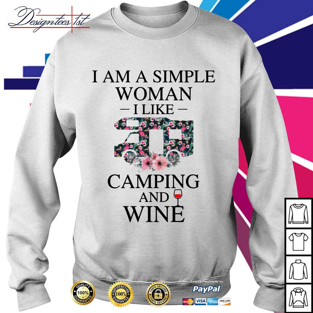 Floral I am a simple woman I like camping and wine Sweater