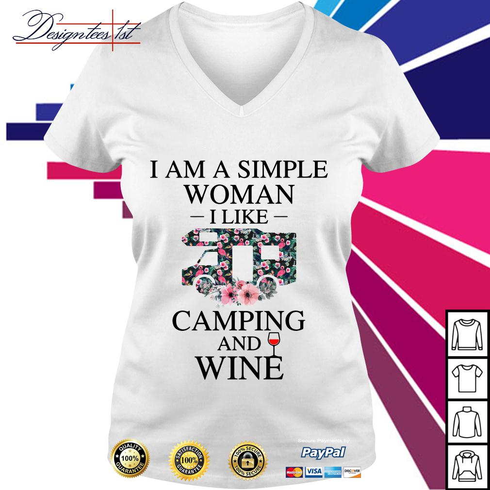 Floral I am a simple woman I like camping and wine V-neck T-shirt