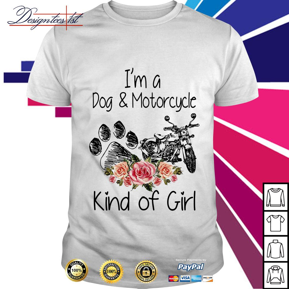 Floral I'm a dog and motorcycle kind of girl shirt