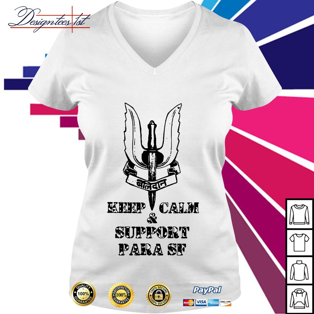 Keep calm and support Para SF V-neck T-shirt