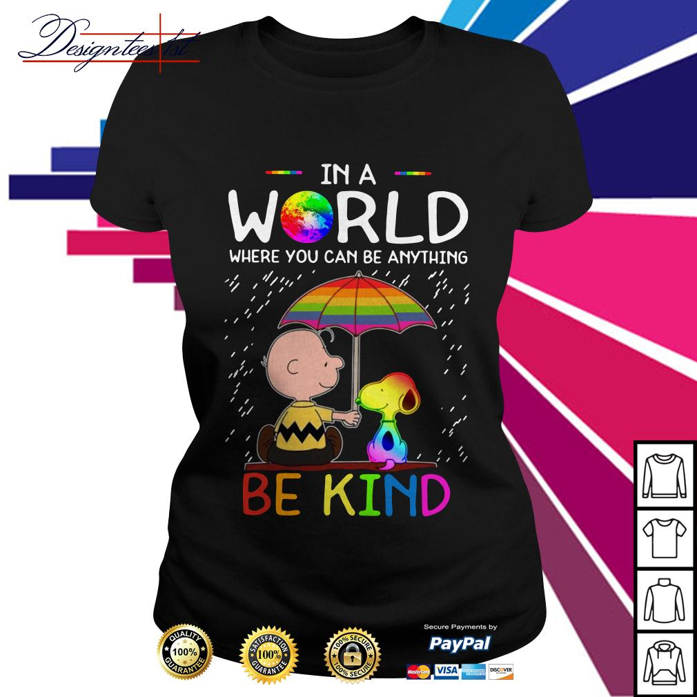 LGBT 2019 Charlie Brown and Snoopy in a world where you can be Ladies Tee