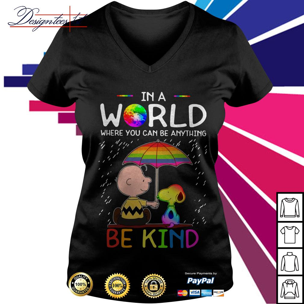 LGBT 2019 Charlie Brown and Snoopy in a world where you can be V-neck T-shirt
