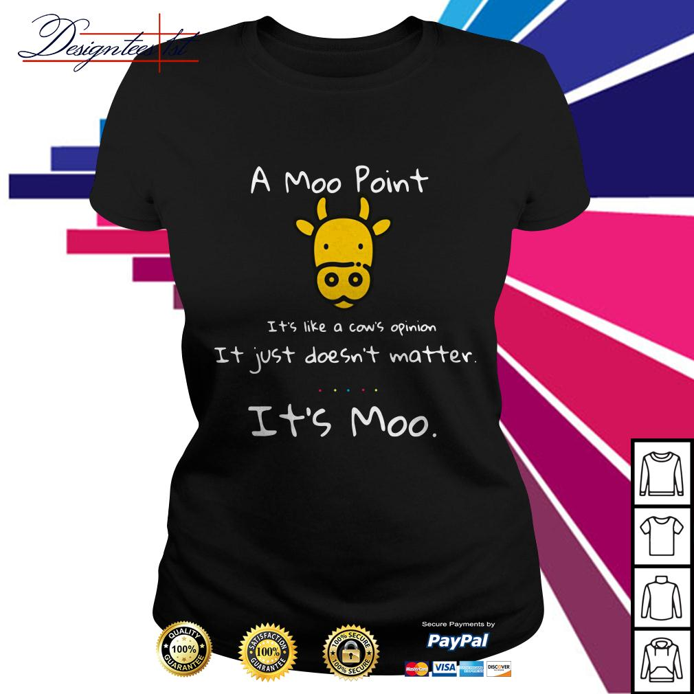 A Moo point it's like a cow's opinion it just doesn't matter it's Ladies Tee