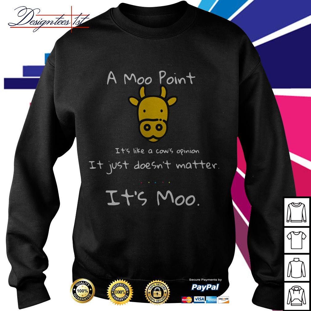 A Moo point it's like a cow's opinion it just doesn't matter it's Moo Sweater