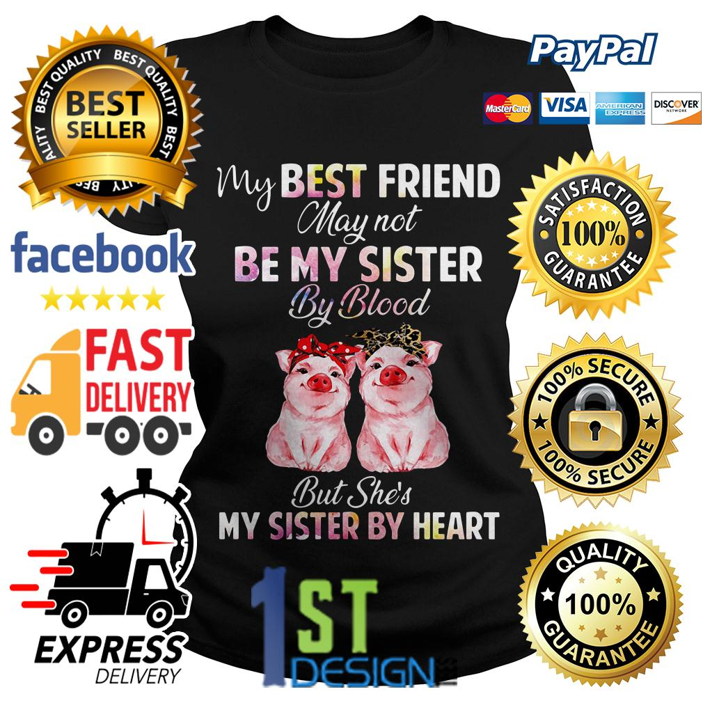 Pig my best friend may not be my sister by blood but she's my sister Ladies Tee