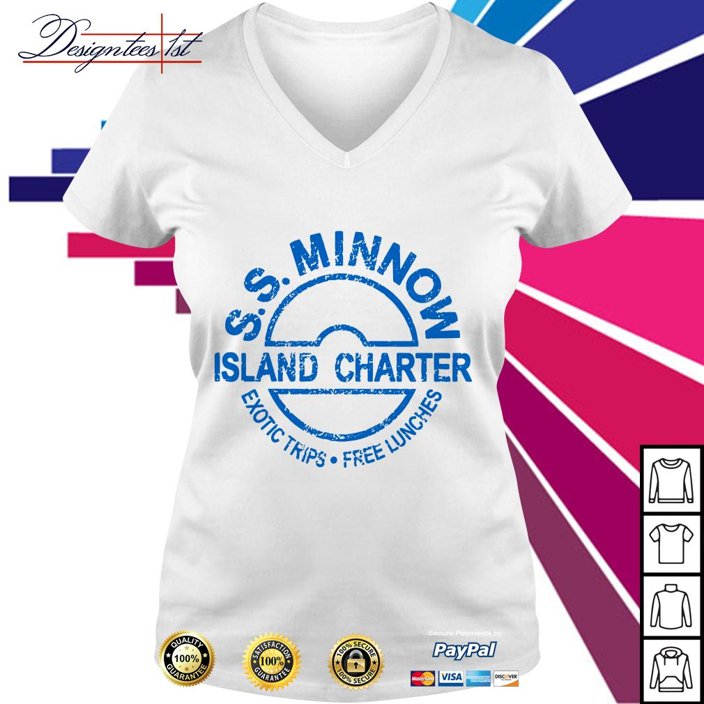 S.S.Minnow island charter exotic trips free lunches V-neck T-shirt