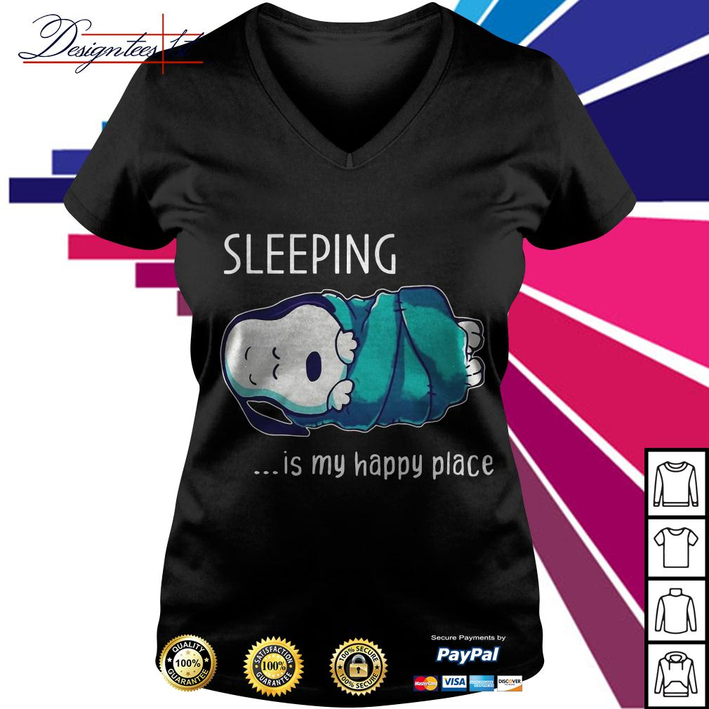 Snoopy sleeping is my happy place V-neck T-shirt
