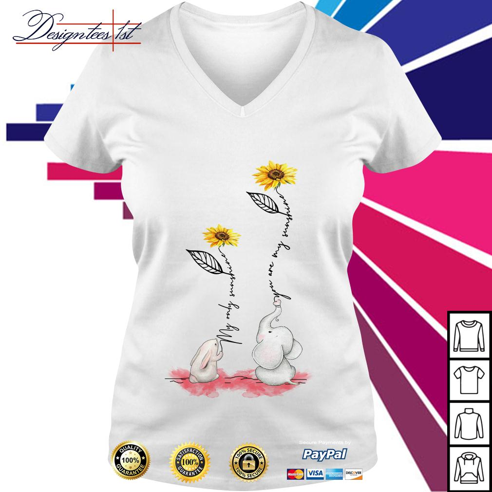 Sunflower rabbit my only sunshine elephant you are my sunshine V-neck T-shirt