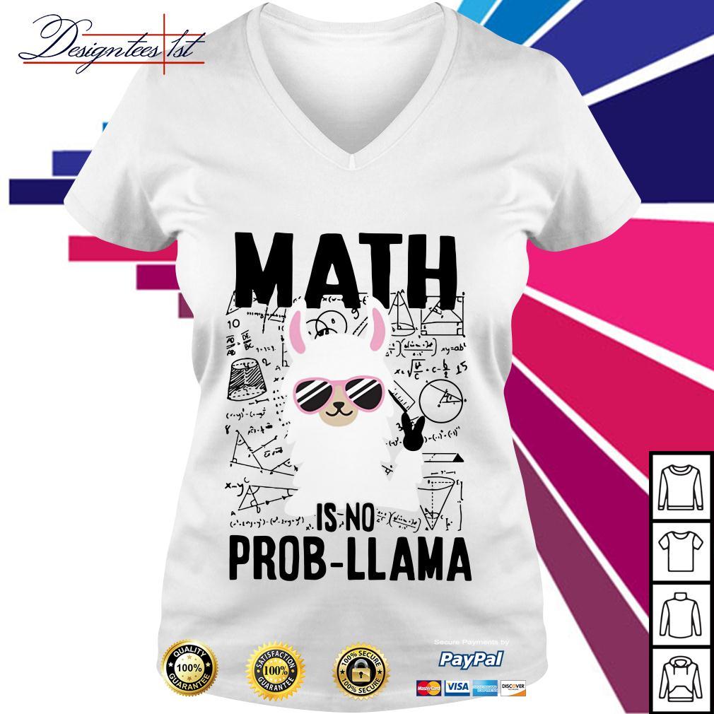 Teachers day math is no prob-Llama V-neck T-shirt
