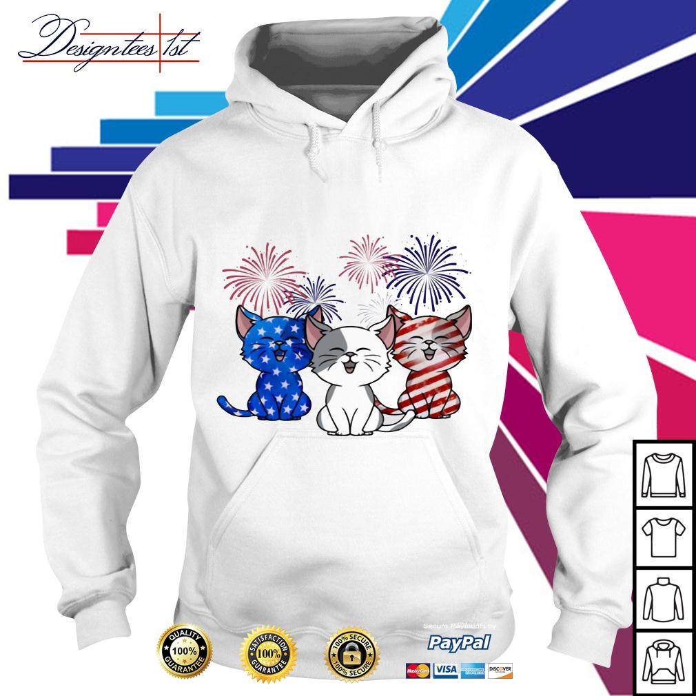Three cats red white and blue American Flag Hoodie