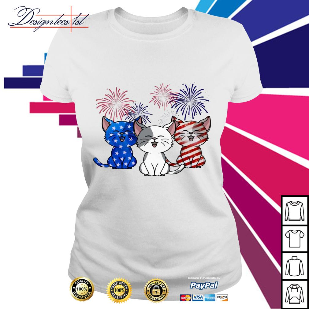 Three cats red white and blue American Flag Ladies Tee