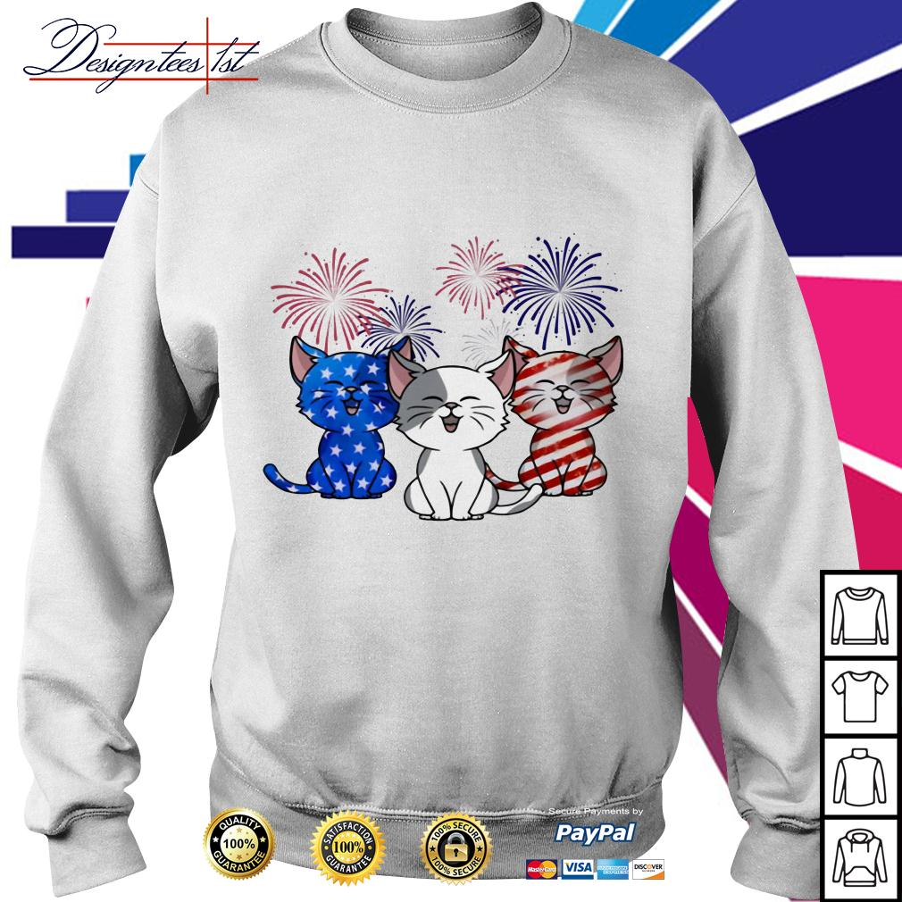 Three cats red white and blue American Flag Sweater