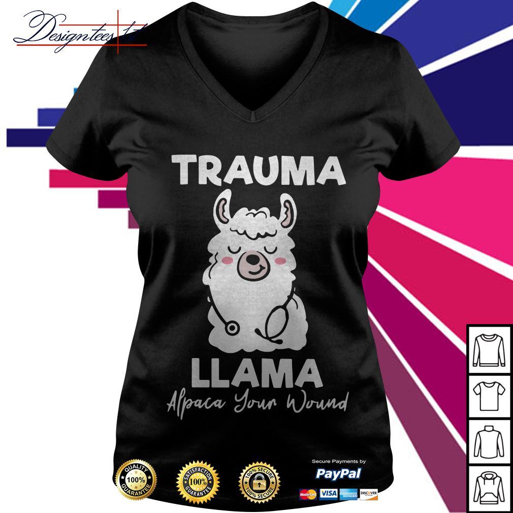 Trauma Llama Alpaca your wound V-neck T-shirt