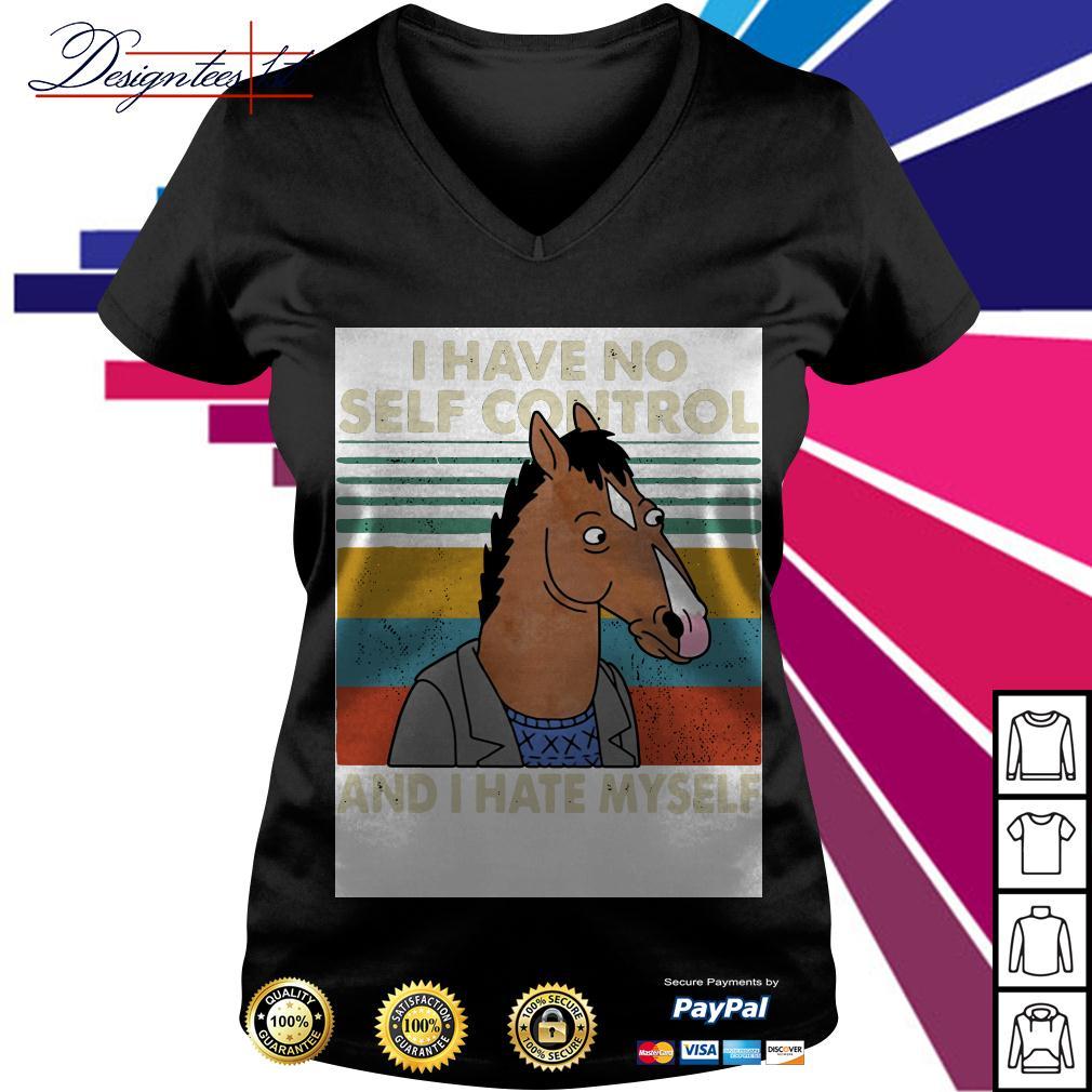 Bojack Horseman I have no self control and I hate myself vintage V-neck T-shirt