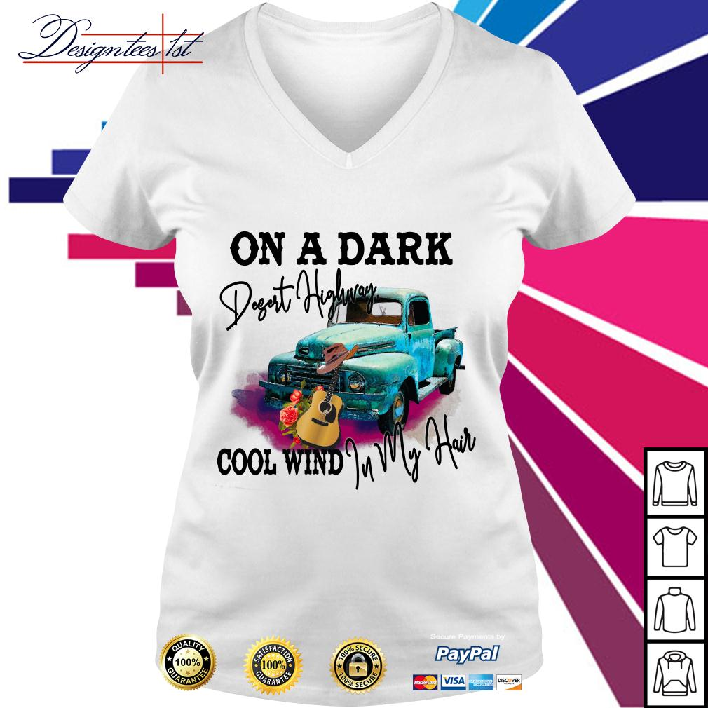 Car and guitar on a dark desert highway cool wind in my hair V-neck T-shirt