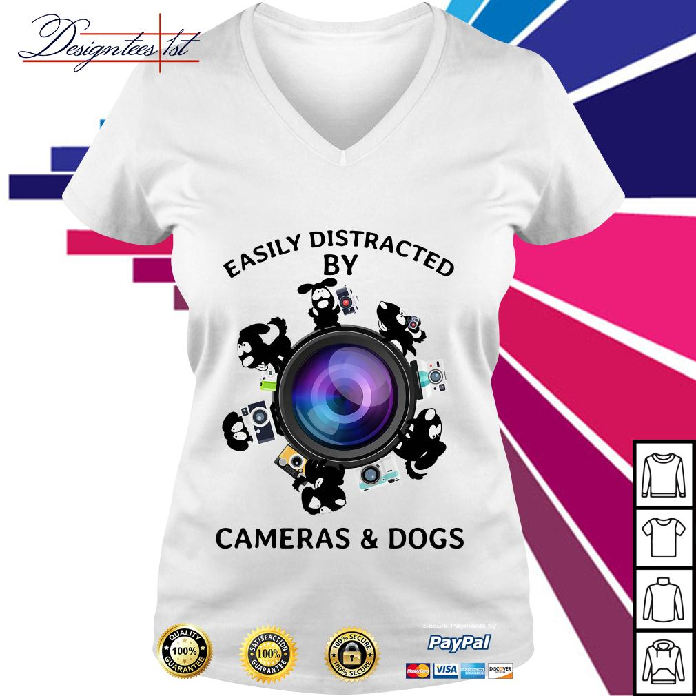 Easily distracted by cameras and dogs V-neck T-shirt