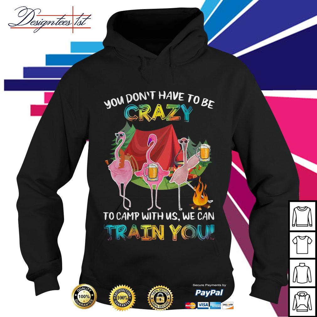 Flamingo you don't have to be crazy to camp with us we can train you Hoodie