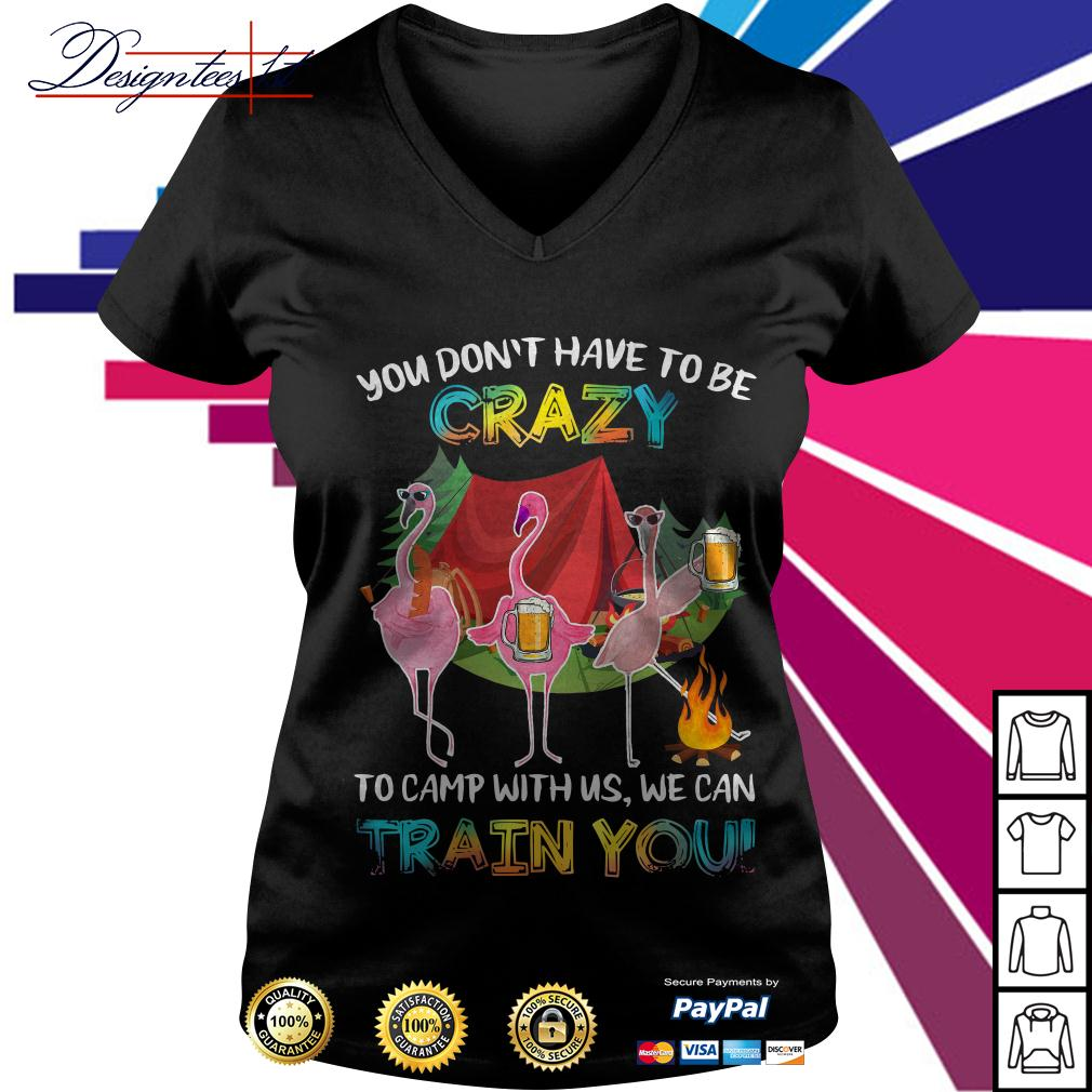 Flamingo you don't have to be crazy to camp with us we can train you V-neck T-shirt