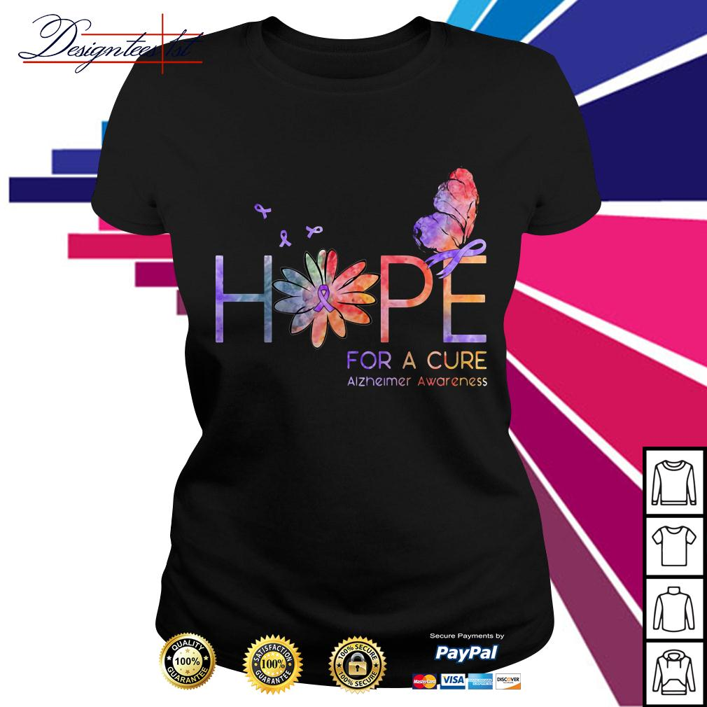 Floral hope for a cure Alzheimer awareness Ladies Tee