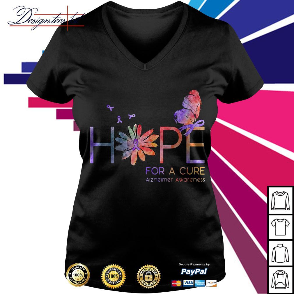 Floral hope for a cure Alzheimer awareness V-neck T-shirt