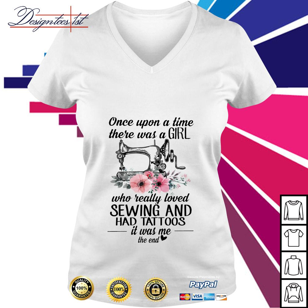 Floral once upon a time there was a girl who really loved sewing V-neck T-shirt