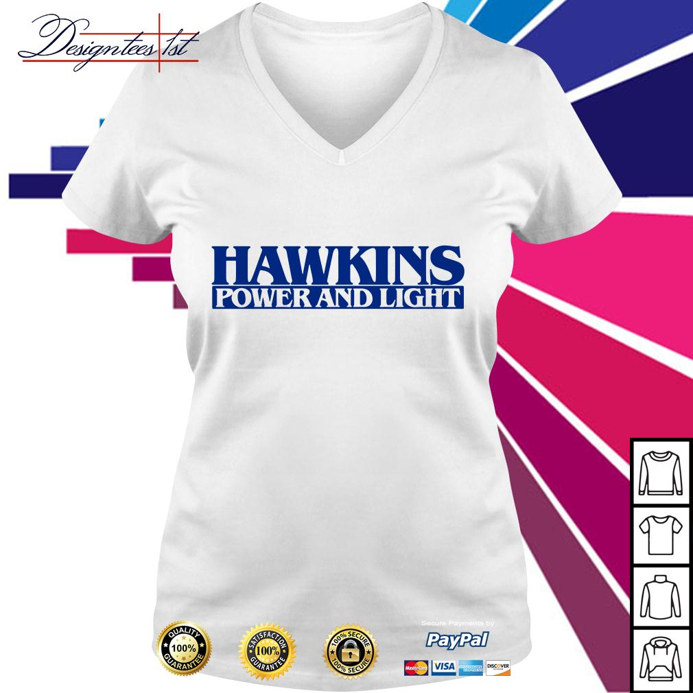 Hawkins power and light stranger things V-neck T-shirt