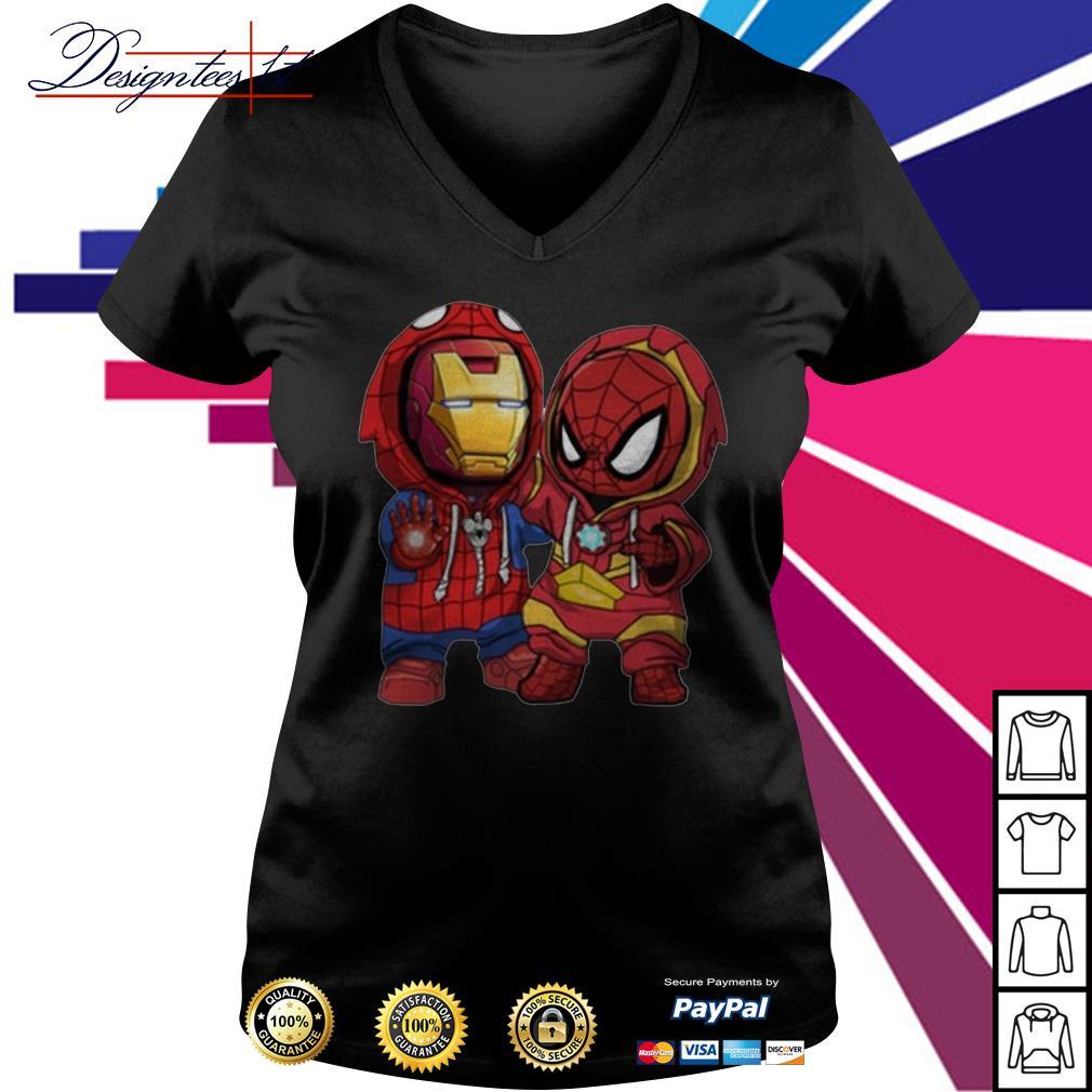 Kids Spider man and Iron man V-neck t-shirt
