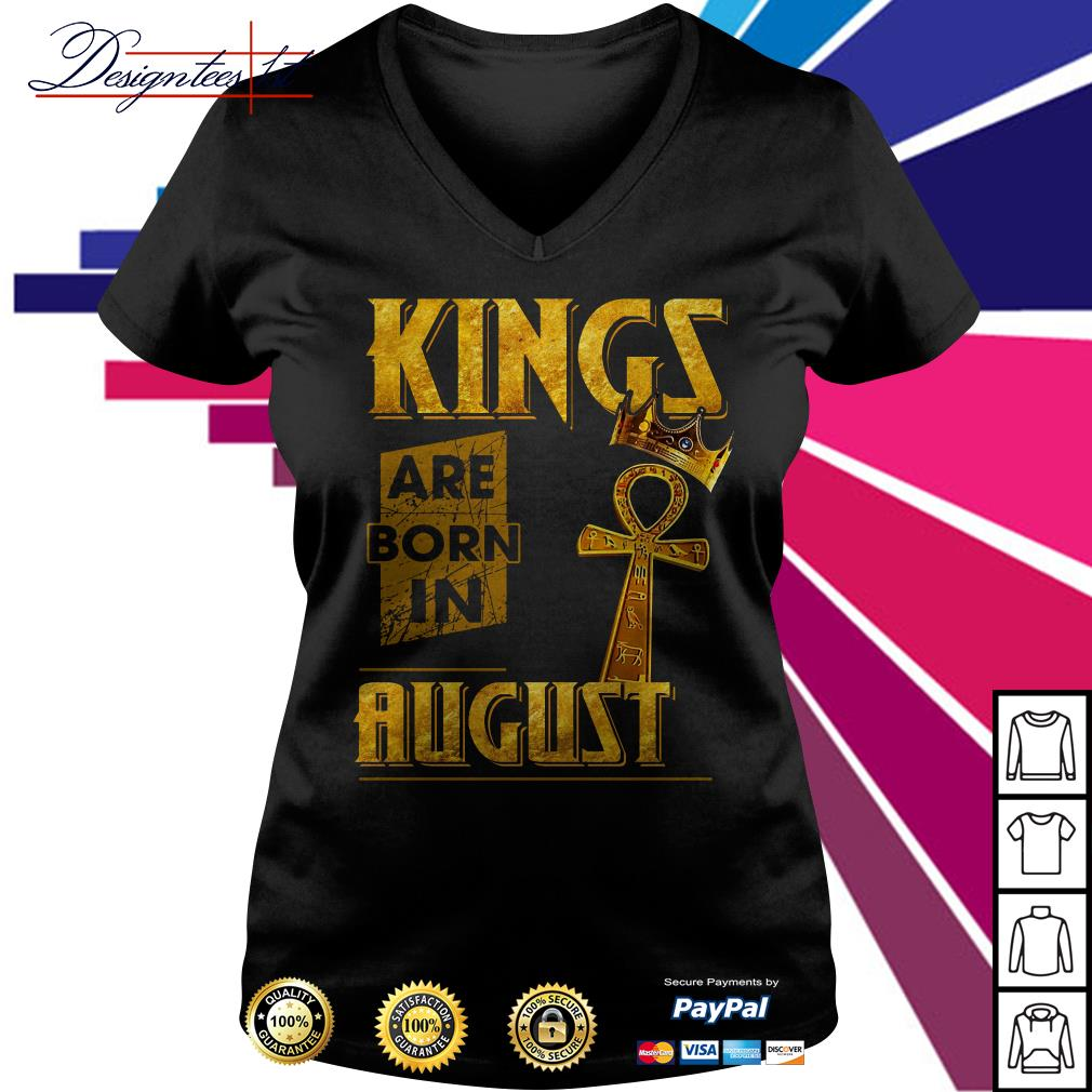 Kings are born in August V-neck t-shirt