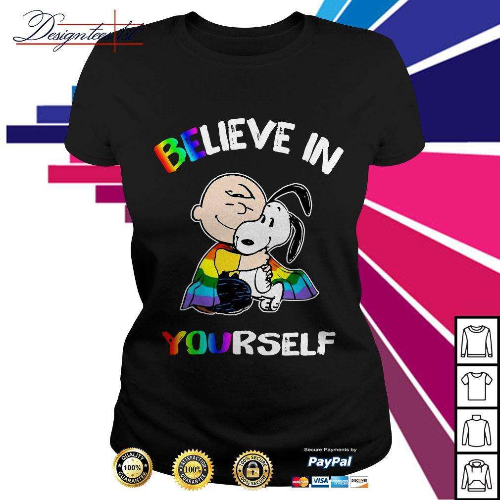 LGBT Snoopy and Charlie Brown believe in yourself Ladies Tee
