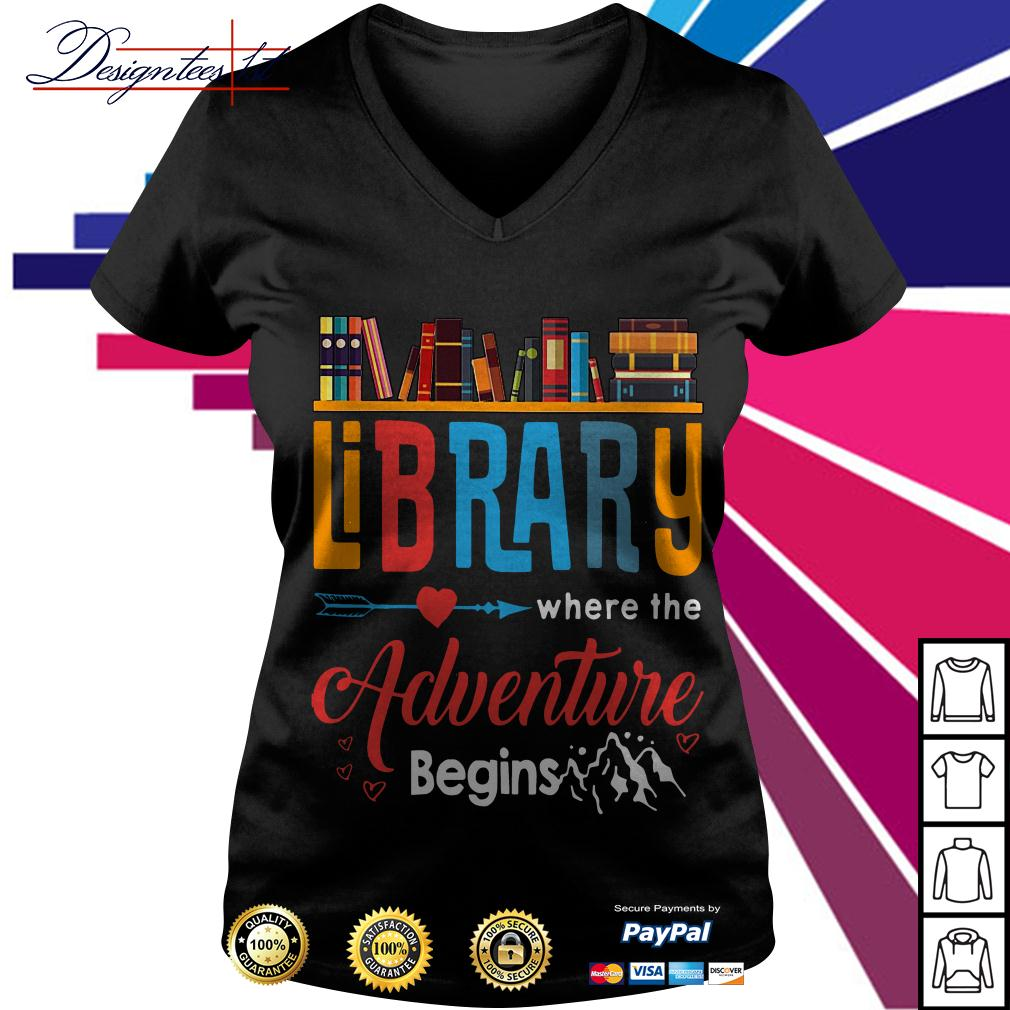 Library where the adventure begins V-neck T-shirt