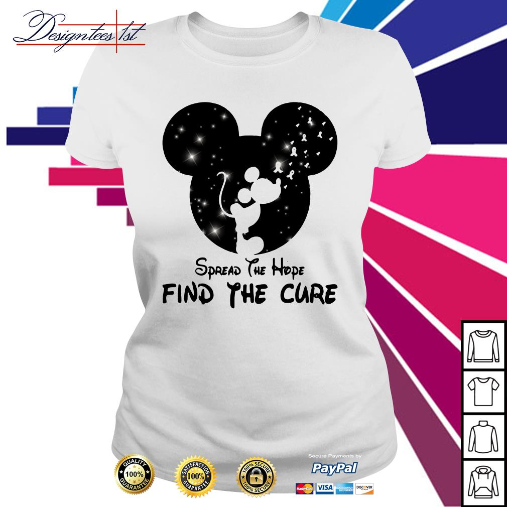 Mickey Mouse Cancer Awareness spread the hope find a cure Ladies tee