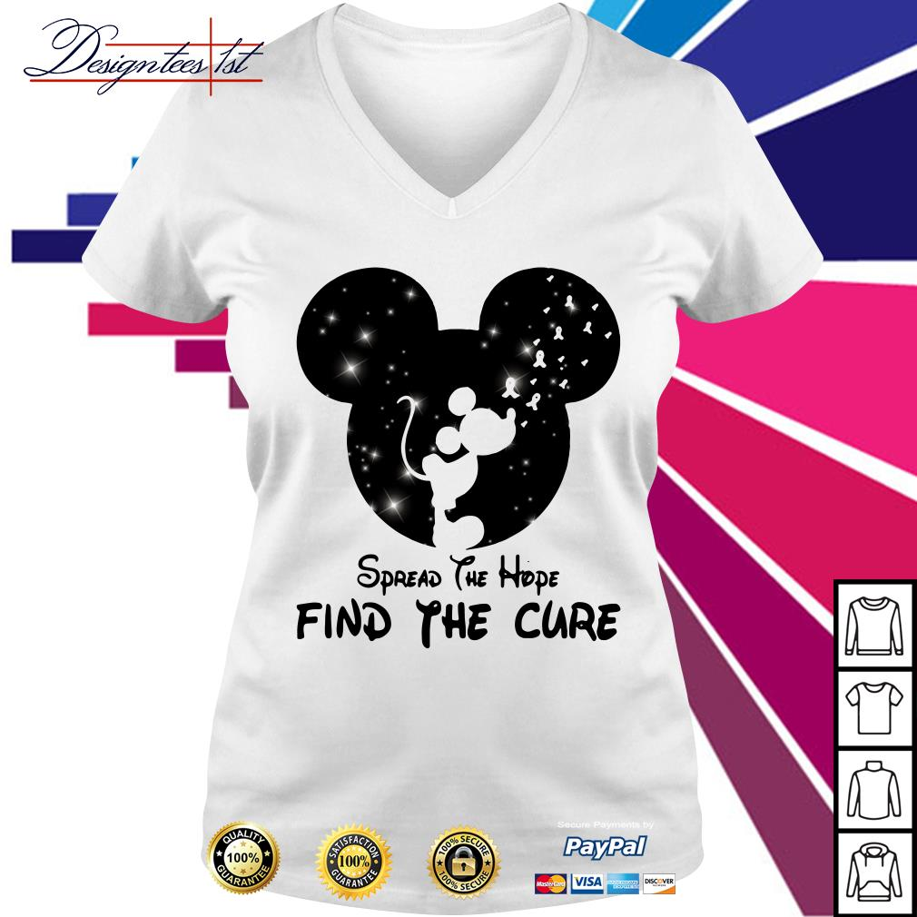 Mickey Mouse Cancer Awareness spread the hope find a cure V-neck t-shirt