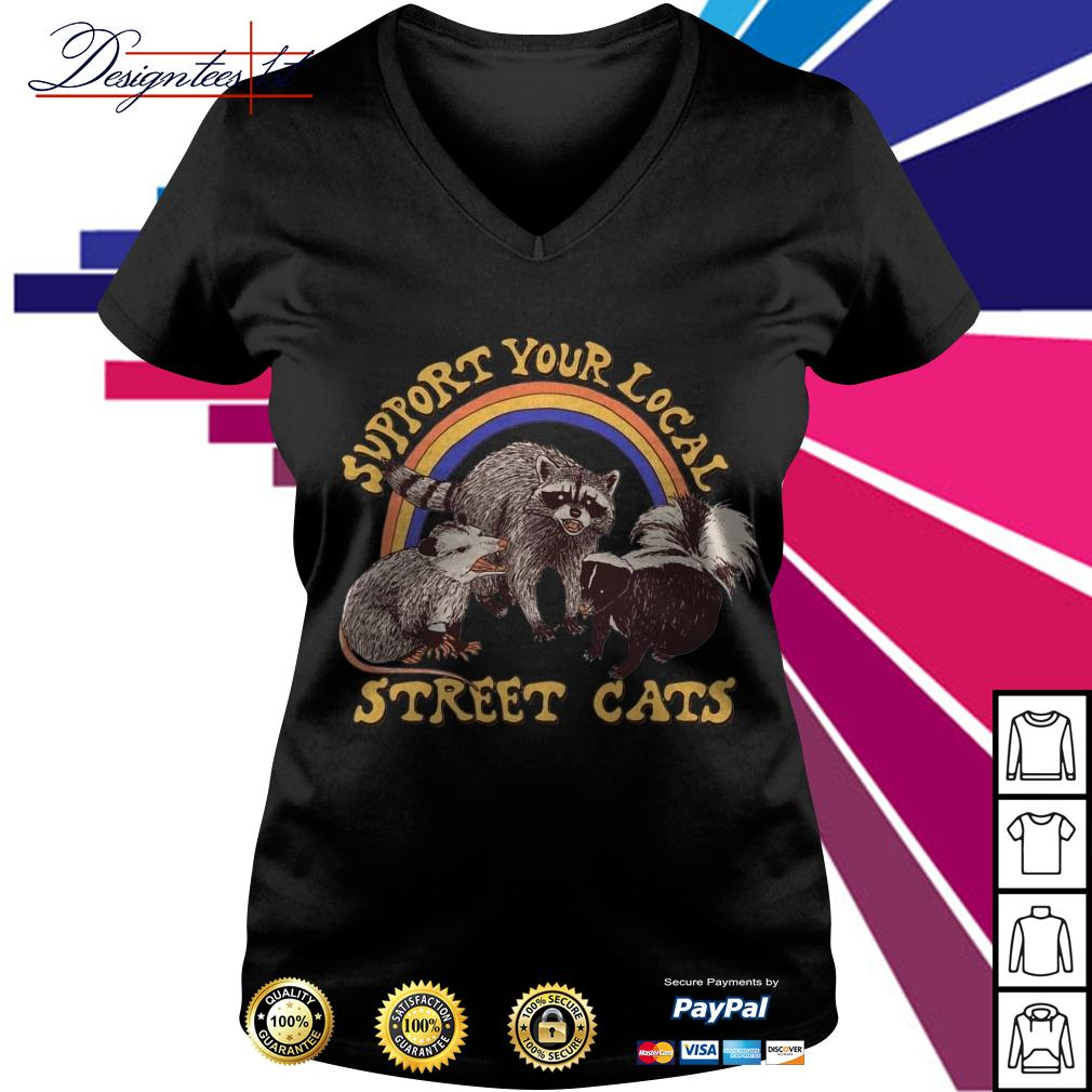 Raccoon support your local cats V-neck T-shirt