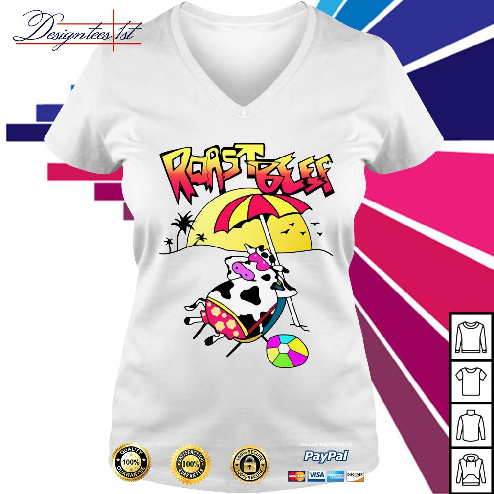 Roastbeef Real Fans Cow on Beach V-neck t-shirt
