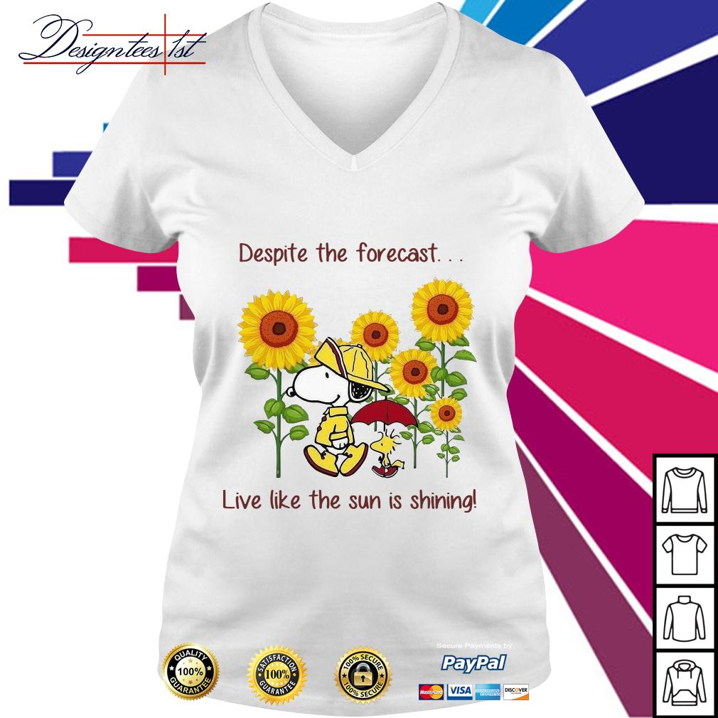 Snoopy and Woodstock sunflower despite the forecast live like the sun is shining V-neck T-shirt