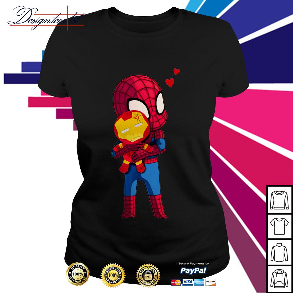 Spider-Man hug Iron man Ladies Tee
