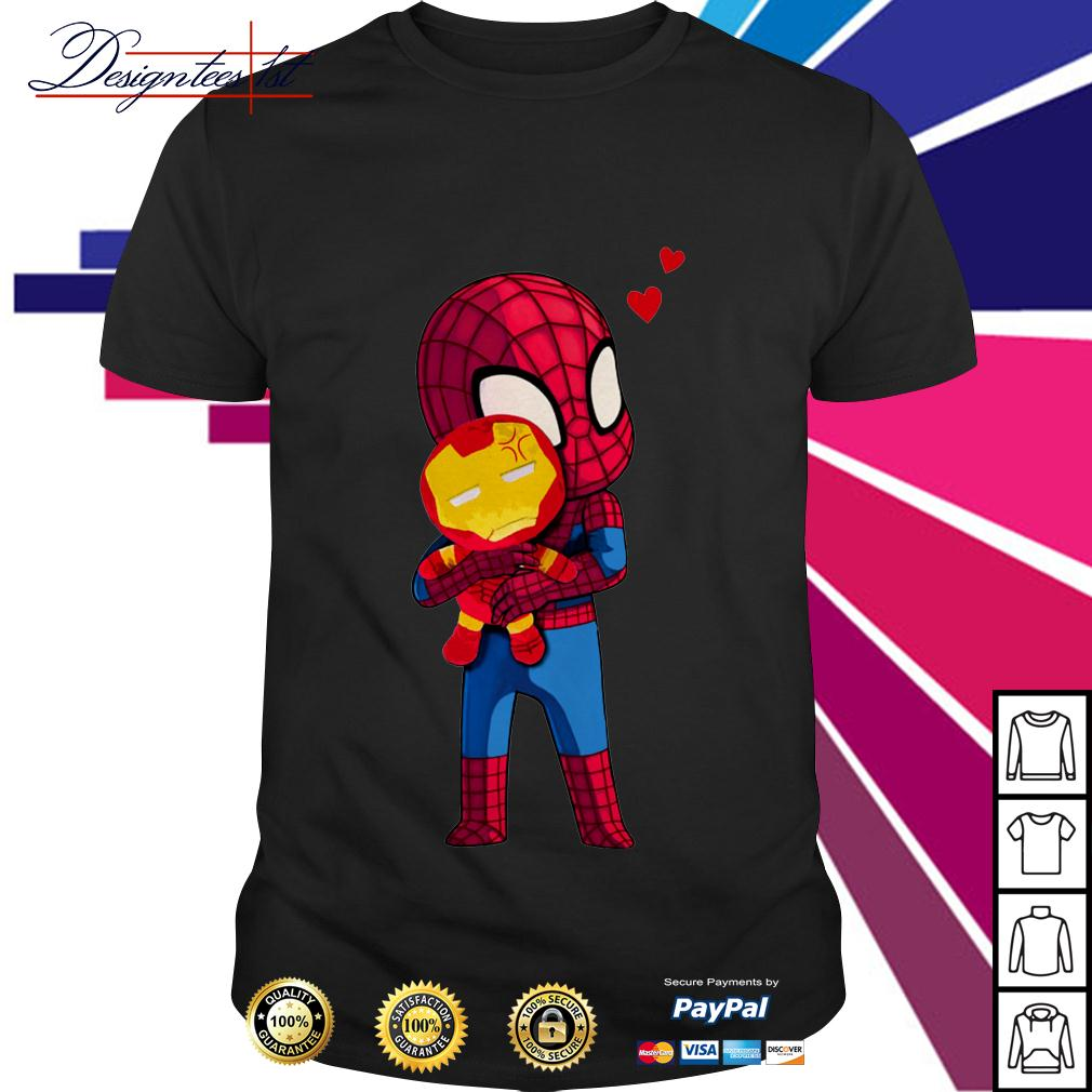 Spider-Man hug Iron man shirt