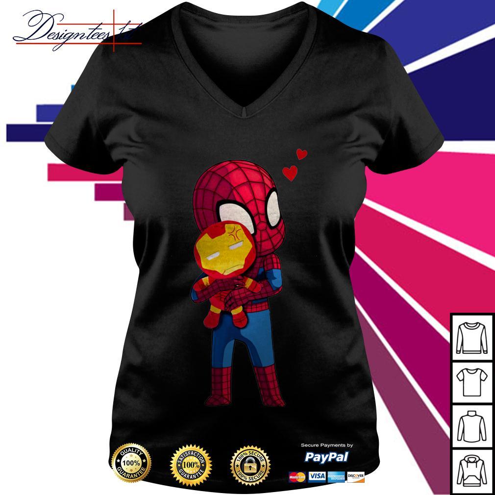 Spider-Man hug Iron man V-neck T-shirt
