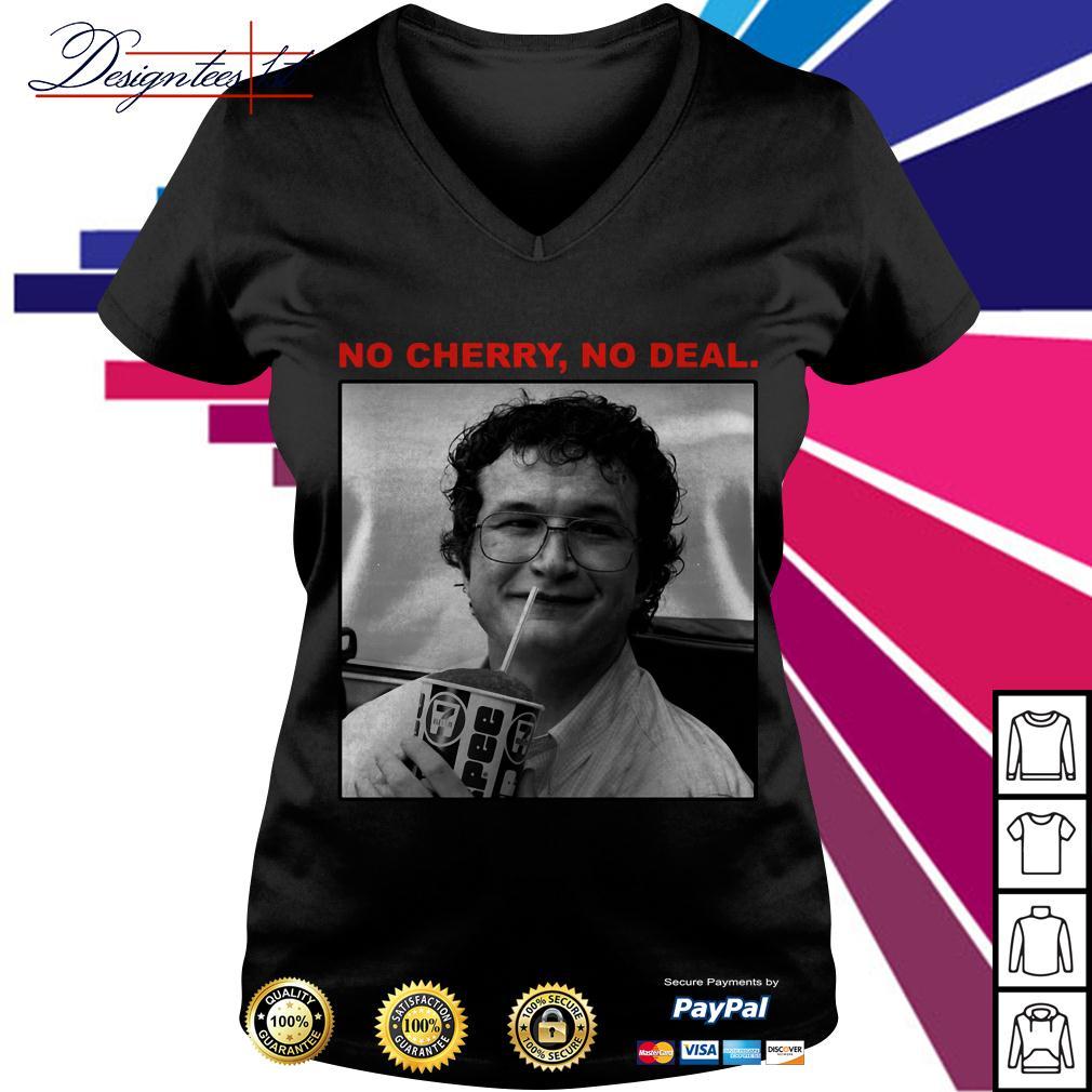 Stranger Things 3 Alexei no cherry no deal V-neck T-shirt