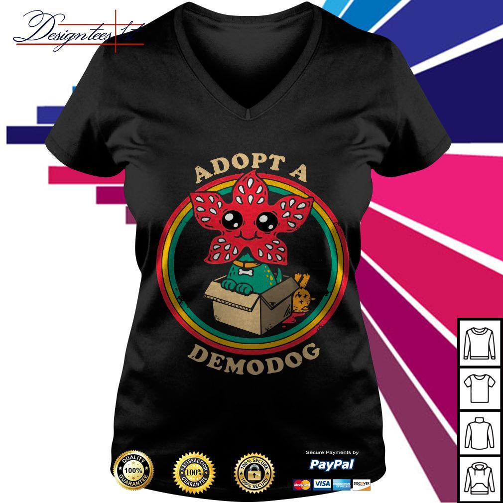 Stranger Things Adopt a demodog V-neck T-shirt