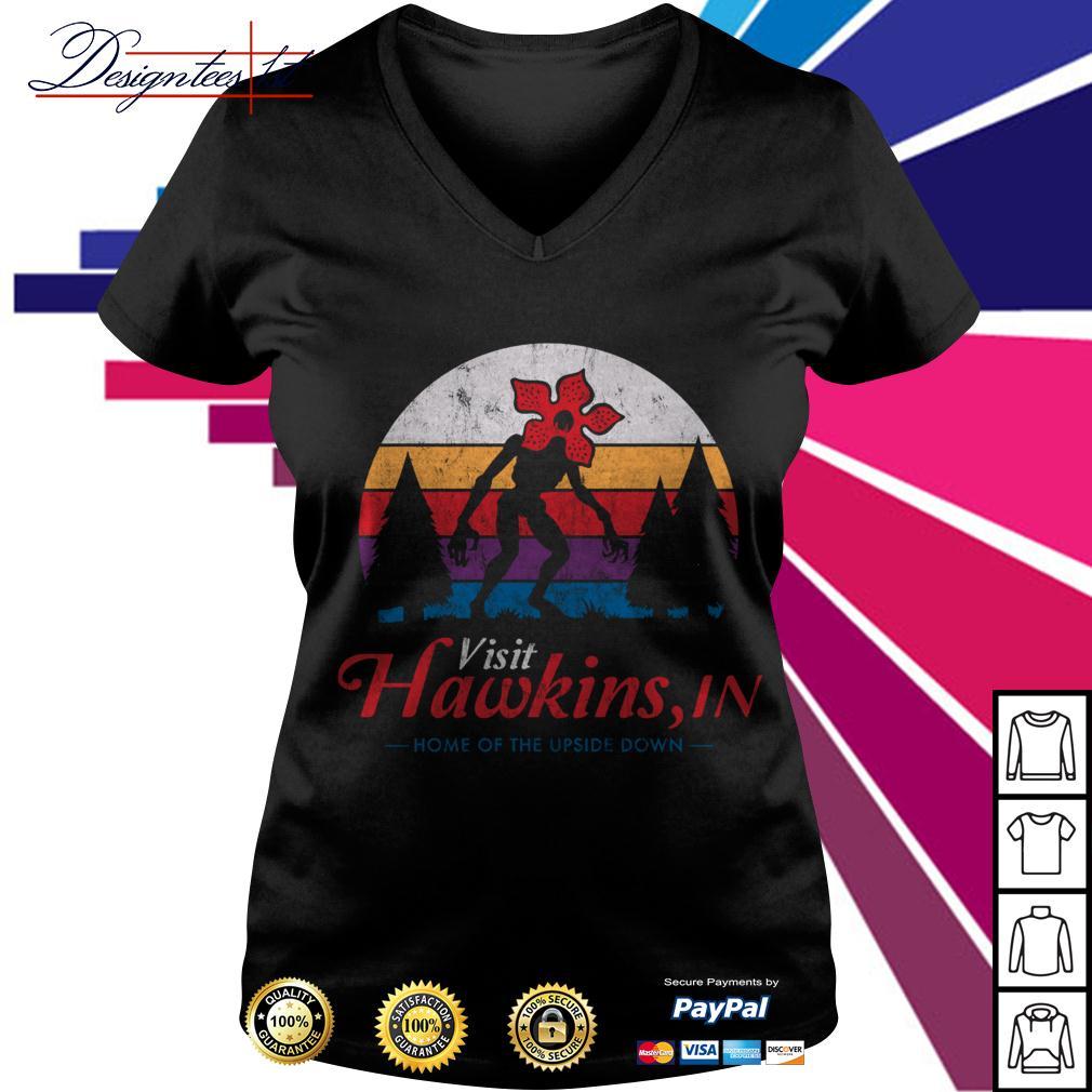 Stranger Things Demogorgon Visit Hawkins in home of the upside down vintage V-neck T-shirt